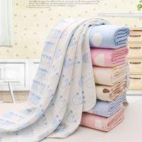 Baby Badetuch 6 Schicht Baumwollgaze Musselin Kinder Decken Bettwäsche Infant Neugeborenen Swaddle Kinder Baumwolle Wrap Quilt 80 * 80cm Hohe Qualität Neue Qualität