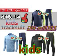 2018 -19 Man City Kinder Trainingsanzug 18 19 Hochwertige Stadt-Kinderjacke 2019 DE BRUYNE KUN AGUERO Kinder Trainingsanzug Sweatshirt-Set