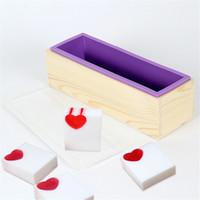케이크 베이킹 비누 만들기위한 나무 상자 DIY 도구와 1.2L 유연한 사각형 실리콘 비누 몰드