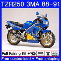 바디 용 YAMAHA TZR250RR RS RR YPVS TZR250 88 89 90 91 244HM.23 TZR-250 광택이있는 파란색 TZR250 3MA TZR 250 1988 1989 1990 1991 페어링 키트