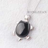 """Naturlig ädelsten pärla svart agat sköldpadda hängsmycke smycken djur söt sköldpadda form reiki dangle pendants halsband silver kedja 18 """"dn3740"""