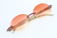 Gafas Buena Blanco Sin montar Vintage Calidad genuina 3524012 C Nuevas gafas de sol redonda Unisex Decoración Frame Frame Diamante Natural Natural Gold BVCU