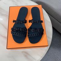 Tasarımcı Terlik Kadın Sandalet Rivage Chainee D'Ancre Kauçuk Jöle Sandalet Slaytlar Düz Çevirme Terlikleri Partisi Düğün Ayakkabı Kutusu Ile