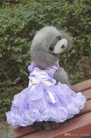 F36b اللباس الكلب الحلو تنورة فساتين الحيوانات الأليفة أميرة جرو تول الكلب القط الصيف ارتفع جميلة لطيف فساتين