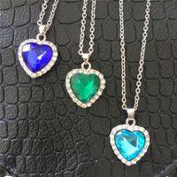 Циркон персик сердце Титаник океан сердце ожерелье короткая цепь Сердце Океана ожерелье