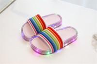 Infradito design INS LED Rainbow Pantofole Glitter per bambini Estate bambini lampeggiante Sandali con paillettes Sandali con paillettes Scarpe da bambina A5801