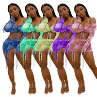 Wrapped Chest Pleated Womens Tracksuits Tie Dye Mini Skirt L...