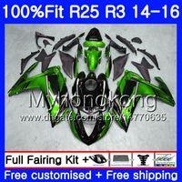 حقن الأخضر الأبيض الجسم الساخن ل ياماها YZF R3 R25 YZF-R3 YZFR 25 14 15 16 17 240HM.15 YZF-R25 R 25 YZFR3 2014 2015 2016 2017 fairings كيت