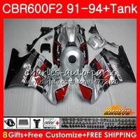 Кузов + бак для HONDA CBR 600F2 CBR600FS CBR 600 FS серебристой черный F2 91 92 93 94 40HC.27 600cc CBR600 F2 CBR600F2 1991 1992 1993 1994 обтекатель