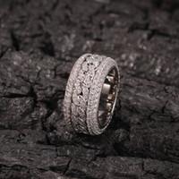 Hip hop bling ghiacciato cubico zirconia cz anello per uomo donna spinner catena cubana anelli rotondi anelli gioielli festa