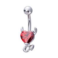 Toptan Seksi Aşk Kalp Göbek Düğme Halkalar Göbek Piercing Zirkon Kristal paslanmaz çelik Vücut Takı Göbek Piercing Yüzük Kadınlar Medikal