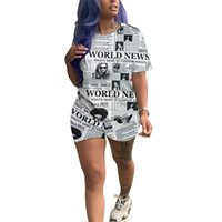 2019 Women summer short sleeve o- neck letter newspaper print...