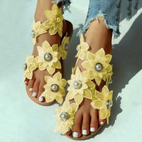 Women Sandal Black Pearl Flower European Plus Size Sandals F...