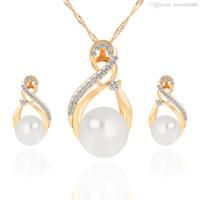 Moda Simulado Conjuntos de Joyas de Perla Para Las Mujeres Románticas Boda de Oro Plata Color Pendientes Collares Bijoux collier brincos