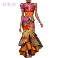 2019 Femmes Robe Deux Pièces Ensemble Femmes Manches Bouffantes Crop Tops Longue Maxi Jupe Ensembles Mermaid Africaine Maxi Vêtements 6XL WY4211