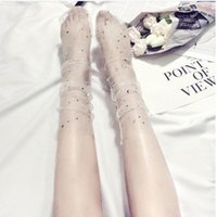 Women Socks n Sequins Mesh Yarn Sexy Thin Socks Black White ...