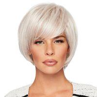 100% Perruque de Cheveux Humains Court Bob Perruques Argent Gris Chaleur Safe Lady Party Cosplay Livraison gratuite New Haute Qualité Fashion Picture perruque