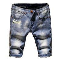 Shorts Männer zerrissene kurze Jeans Gerade Retro Shorts Jean Bermuda Male Denim-Marken-Kleidung plus Größe 28-38