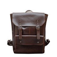 New fashion men leather backpack high quality men' s tra...