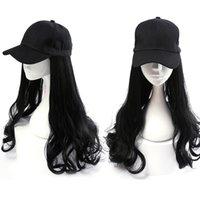 Baseball Cap perruque patient médical perruque Hat Un été Cheveux longs cheveux bouclés Mode naturel