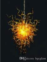 La India de oro de color cristalina moderna lámpara de cristal soplado increíble soplado de cristal colgante de cristal de Murano del hotel Vestíbulo artesanía, Arte, la lámpara de luz