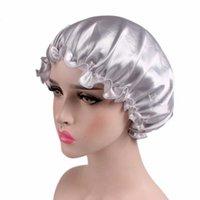 Satin Hair Cap Bonnet notte di sonno Cap Donne doccia cofani Femme lungo di seta di capelli del cappello Per Bagno Unisex