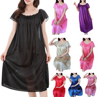 Womens Summer Lace Ice Silk Long Nightdress Short Sleeve Loose Plus Size Nightgown XL Solid Color Sleepshirt Home Clothes N9_D