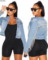 Kadın Ceketler Kadın Sonbahar Kış Püskül Ekleme Yarasa Kollu Jean Degrade Tam Kollu Denim Aktif Giyim Yüksek Sokak Ceket GL5095