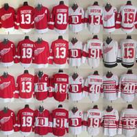 13 Pavel Datsyuk Detroit Ailes rouges Jerseys Hockey 40 Henrik 19 Steve Yzerman 91 Sergei Fedorov Gustav Nyquisi Rouge Blanc