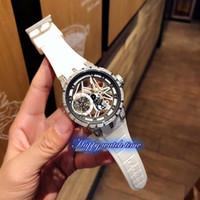 Yüksek Sürüm RDDBEX0479 Excalibur Saatler İskelet Gümüş Elmas Durumda Otomatik Mekanik Hareketi Beyaz Kauçuk Kayış Spor Erkek İzle