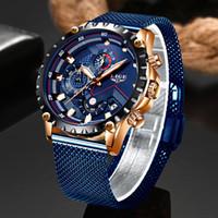 LIGE Nouveau Hommes Montres Homme Mode Top Marque de luxe en acier inoxydable Bleu Quartz Montre Homme Sport Casual montre étanche Relogio LY191226