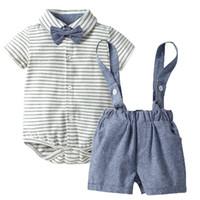 Coton à rayures bébé garçon vêtements met en place une gompe à manches courtes et suspension shorts 3 pièces costume été 2020
