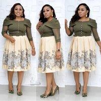 Partykleider HGTE 2021 Herbst Sexy Mode Stil Afrikanischer Frauendruck Große Größe Kleid XL-3XL Business Temperament