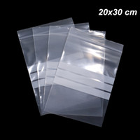 100 قطعة 20x30cm بولي الحقيبة البلاستيكية زيبر قابل للكتابة قابلة لإعادة الاستخدام التخزين بولي واضح الختم الذاتي التغليف حقيبة للالمكسرات الفواكه المجففة