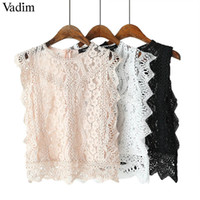 Vadim Women' s Sweet, Pointy Crop Top Sleeveless O Neck ...