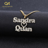 Personalized Custom Iced Out Double Name Necklace Love Heart Choker Thick chain Necklaces Handwriting Nameplate Couple Jewelry