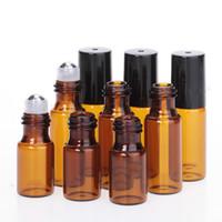 Uçucu Yağlar Satılık Doldurulabilir Parfüm Şişesi için 1 ml 2 ml 3ml 5ml Amber Merdane Şişeler Mini Rulo On Cam şişe