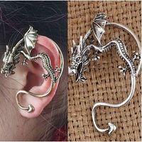2 couleurs de poignets d'oreille de dragon unisexe argent argenté / cuivre / noir piercing piercing unique os clips gouillis boucles d'oreilles
