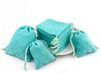 10pcs / lot velours bijoux emballage Pouch Drawstring sac de velours de Noël de mariage Sacs cadeaux Couleur Drawstring Bleu