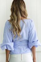 Off Shoulder Latern Sleeves Big Crossing With Bow Pepulm Design Deep V Neck Summer Short Top Womens Blouse Shirt