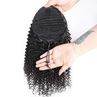 Африканских волосы Kinky завитого хвостик волосы шт хвостик Natural Clip In On Extensions волос Флип поддельного человек Хвост короткого высокий клип Ponytail