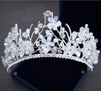 Bling Perlen Kristall Hochzeit Kronen 2019 Billig Braut Diamant Schmuck Strass Pearls Stirnband Haar Krone Mädchen Frauen Proms Party Tiaras