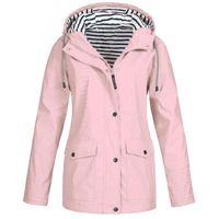 Femmes Vestes Winter Coat Jacket Femmes Veste de pluie Solide PLUS PLUS Étanche Étanche Capuche Capuche Couche-vent Léger