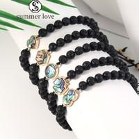Venda Hot naturais contas de pedra Charm Bracelet Coração da Cruz Handmade trançado Jóias Pulseira Abalone Shell alta qualidade Gift-Y