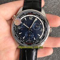 tiempo ZF Top versión geográfica WT 904847J de reserva de energía universal Esfera Azul 1 904847Z automática del reloj para hombre Relojes CAL.939A / diseñador del cuero