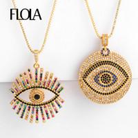 FLOLA Gold Filled Colar Olho Grego para a mulher Zirconia Evil Eye Colar Pingente CZ-íris Jóias colar de ojo turco nkep47