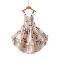 Vieeoease Girls Dress Floral Kids Clothing 2019 Primavera Verano Moda Correas de Hombro Imprimir Chaleco Volante Princesa Vestido CC-263