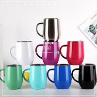 İle Renkli 12oz Paslanmaz Çelik Şarap Gözlük Tumbler Kapak ve Kulp ayaksız şarap kadehleri Göbek Cup Coffee Mug