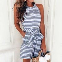 Women' s Striped Playsuit 2019 Summer Sleeveless Romper ...
