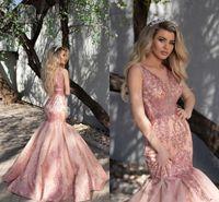 Aso Ebi Blush Pink sera Pageant Dresses 2020 pura in rilievo del collo di lusso Reception pizzo applique ricamo arabo Prom abito